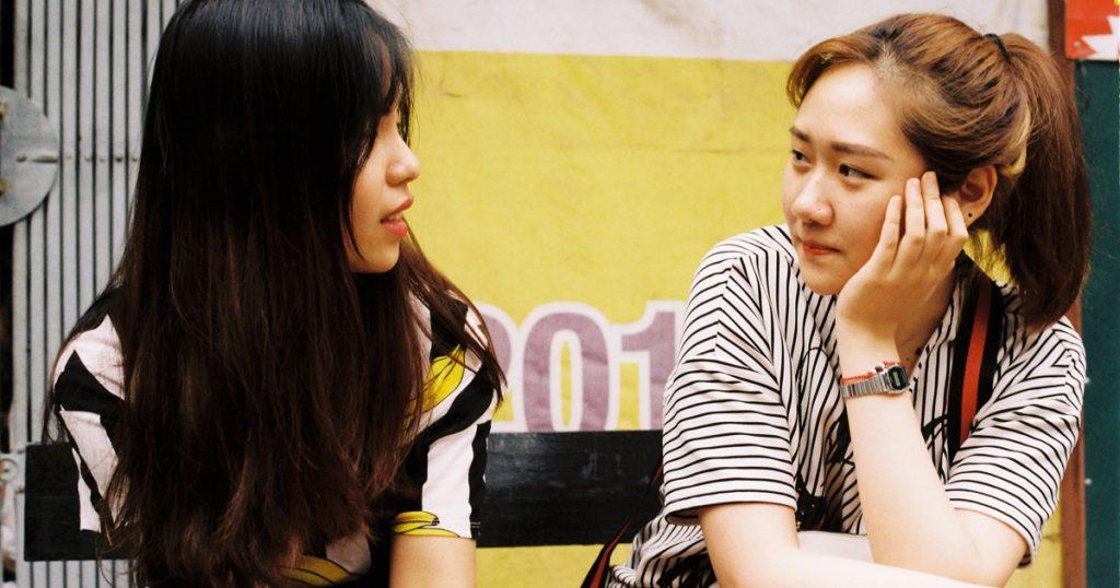 conversation between two young women