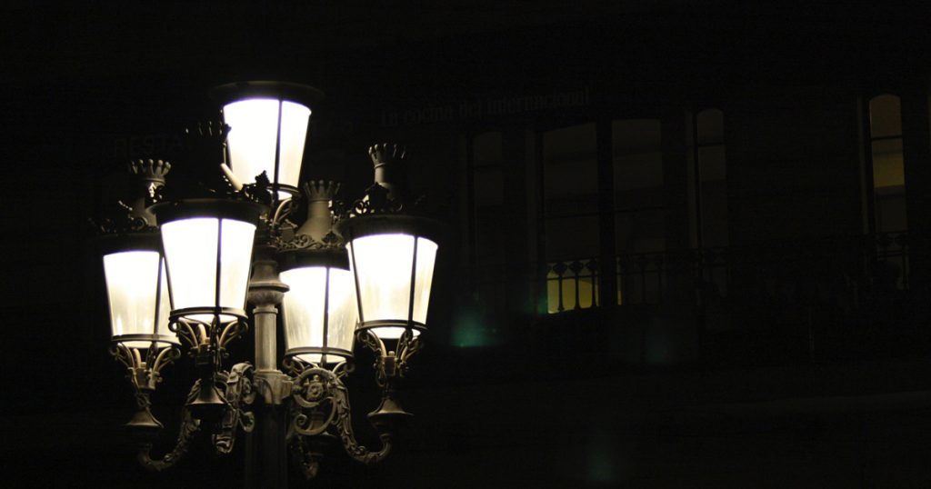 gaslights in the dark